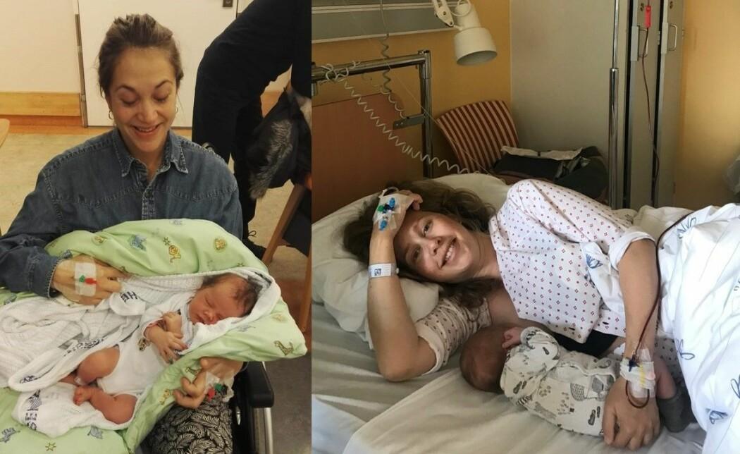 Bildetekst: Sofie Kleivene-Briseid (t.v.) og Therese Jensen (t.h.) blødde henholdsvis tre og fire liter blod etter fødsel.