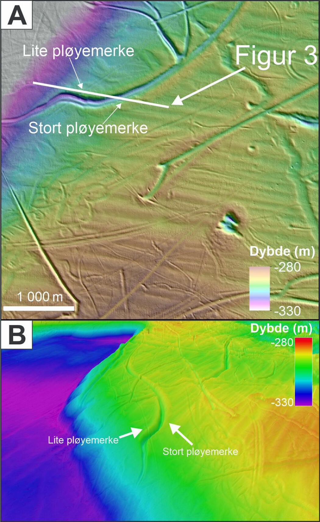 A) Utsnitt av dybdekart, med eksempler på pløyemerker av forskjellig størrelse og retning. Den hvite linjen indikerer et profil fra sedimentekkolodd, som krysser to av pløyemerkene. B) 3D-bilde fra kanten av Frøyabanken; samme store pløyemerke som i bildet over. Dybdedata fra Kartverket/Mareano.