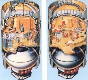 Slik så Skylab, den første amerikanske romstasjonen, på innsiden. (Foto: (Illustrasjon: NASA))