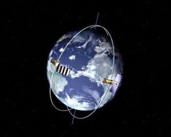 """""""Illustrasjonen viser banen til den Europeiske satellitten MetOp og en amerikansk NOAA-satellitt, som begge flyr i lave polare baner."""""""