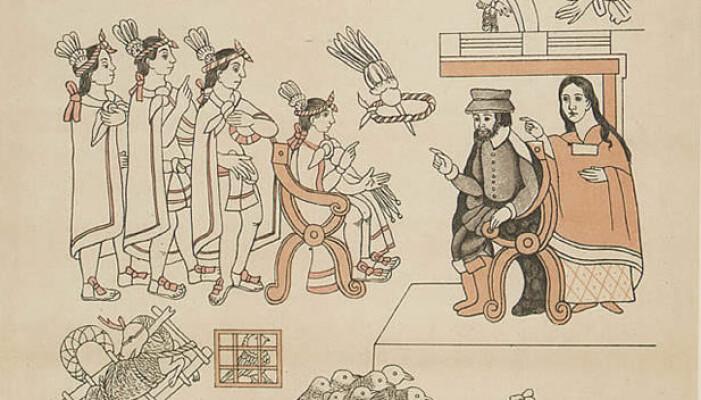 Tegning av conquistadoren Herman Cortez, som møtte Moctezuma II etter at Tlaxcala-indianerne allierte seg med spanjolene under krigene mot urbefolkningen. Dette bildet er fra rundt 1550.