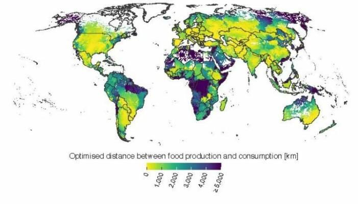 Kartet viser hvor stor avstand det er mellom forbruker og matproduksjon i landene i verden.