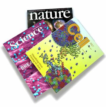 Cell, Nature, Science og de andre topptidsskriftene publiserer stadig færre av de toppsiterte forskningsartiklene som kommer ut. (Foto: (Bilde: faksimile Cell/Nature/Science, montasje forskning.no))