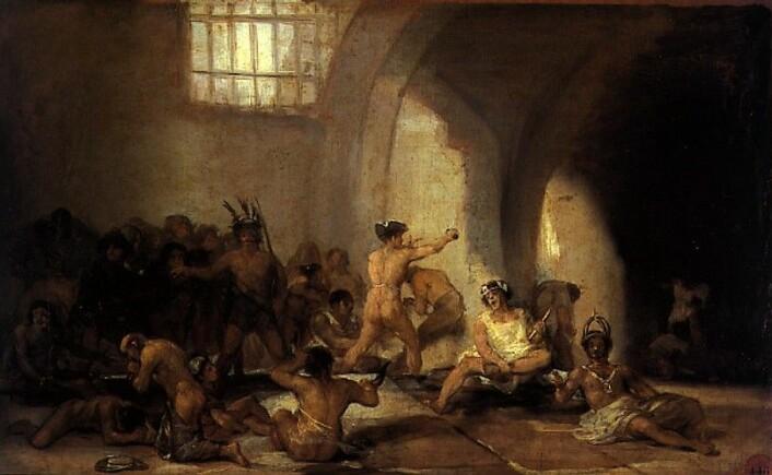 Dette maleriet av Fransisco Goya viser hvordan psykiatriske pasienter tidligere ble sperret inne som fanger, avkledd all verdighet. (Foto: (Maleri: Casa de locos, Fransisco Goya, ca. 1815. Wikimedia Commons))