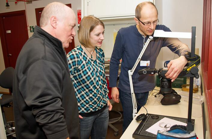 Det faglige kan de, men det fototekniske kan det være greit å få hjelp til når man er på workshop. Jon Kristian Skei (til venstre) på NTNU og Katrine Kongshavn fra Universitetsmuseet i Bergen får kamerahjelp av vert Torbjørn Ekrem. (Foto: Georg Mathisen)