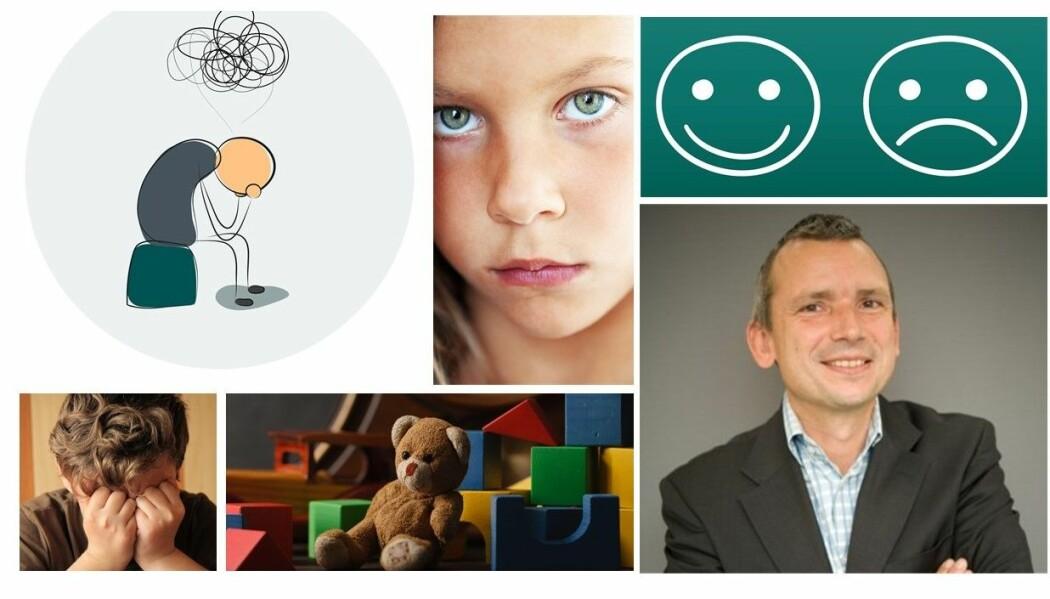 Mange barn er engstelige og triste. Simon-Peter Neumer på bildet nederst til høyre forsker på hva som kan hjelpe barn som har det vanskelig.