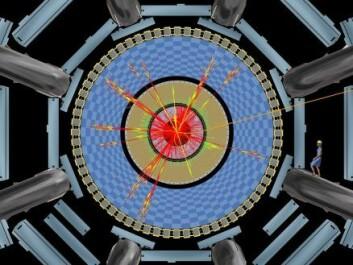 """""""Illustrasjon viser et simulert, sort hull i ATLAS-detektoren, en av fire detektorer som skal analysere partikkelkollisjonene.( Illustrasjon: CERN)"""""""