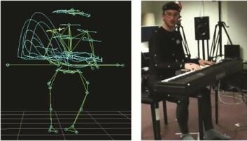 Postdoktor Alexander Refsum Jensenius spiller piano med et infrarødt bevegelsessporingssystem. (Foto: Alexander Refsum Jensenius)