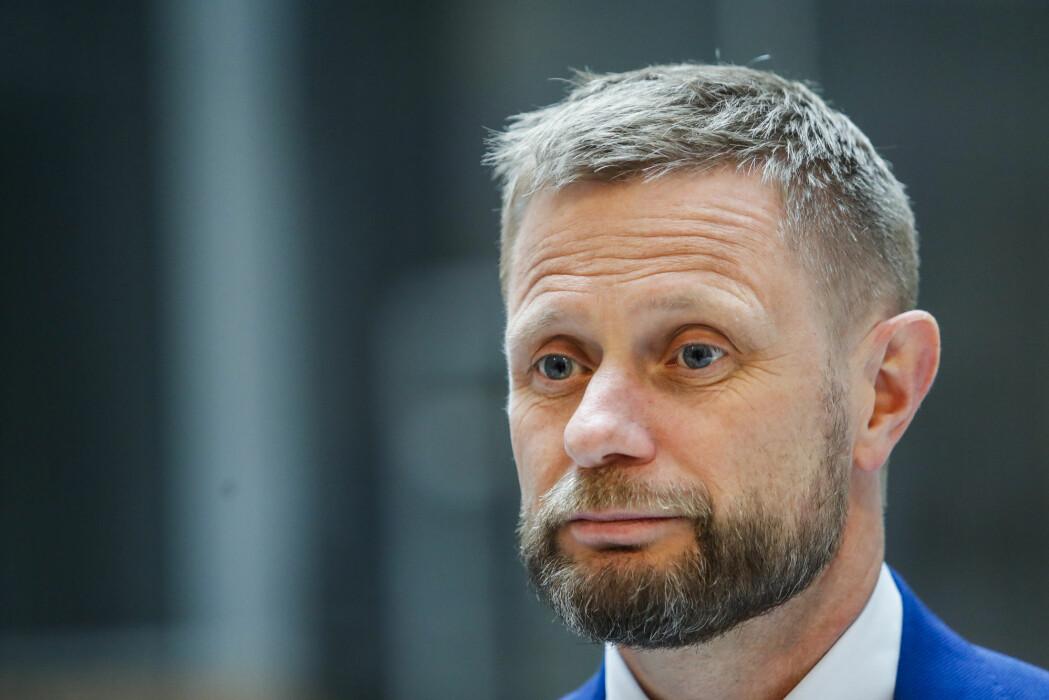 Helse- og omsorgsminister Bent Høie under en pressekonferanse om koronavirus-situasjonen.