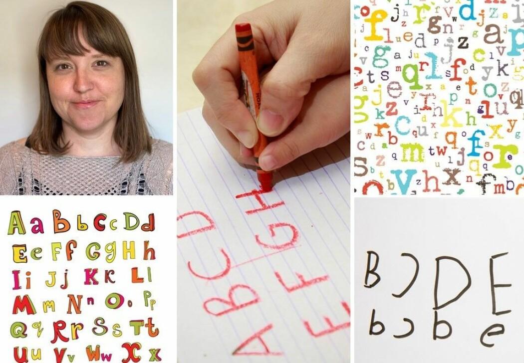 Å skrive er å fortelle en historie eller forklare hvordan noe virker. Camilla Lausund Fitjar (øverst til venstre) forsker på barn og bokstaver.