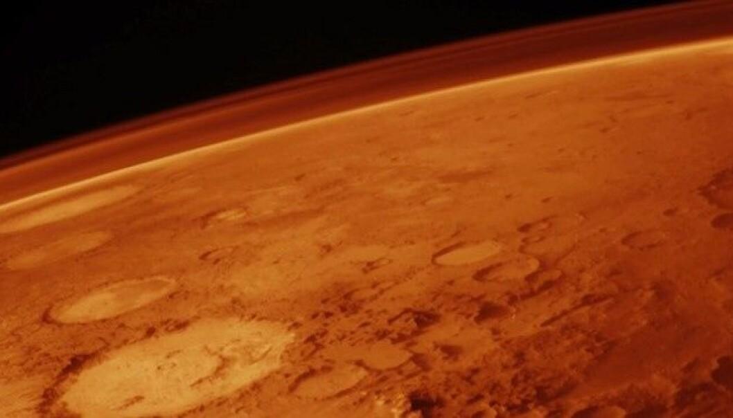 Overflaten og atmosfæren på Mars. I dag mestret Curiosity å lande her, på en måte som selv NASA-ingeniører på forhånd beskrev som galskap. Viking Orbiter/NASA
