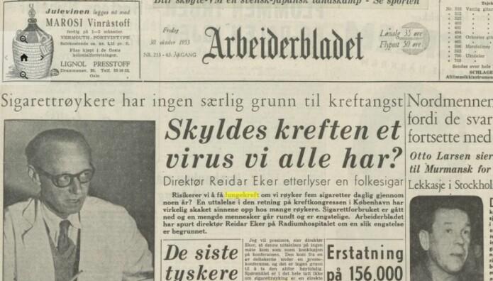 Kreft har blitt omtalt av norske medier siden 1950-tallet. I 1953 meldte Arbeiderbladet at sigarettrøykere ikke har noen grunn til kreftangst.