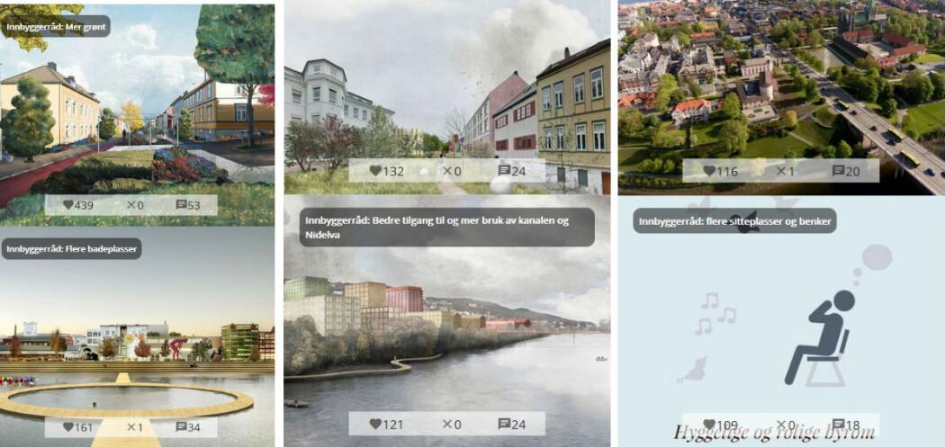 Forskerne har blant annet tatt del i et program for byutvikling i Trondheim, der også innbyggere ble med i prosessen og sendte blant annet inn skisser og forslag i en app, slik bildet viser.