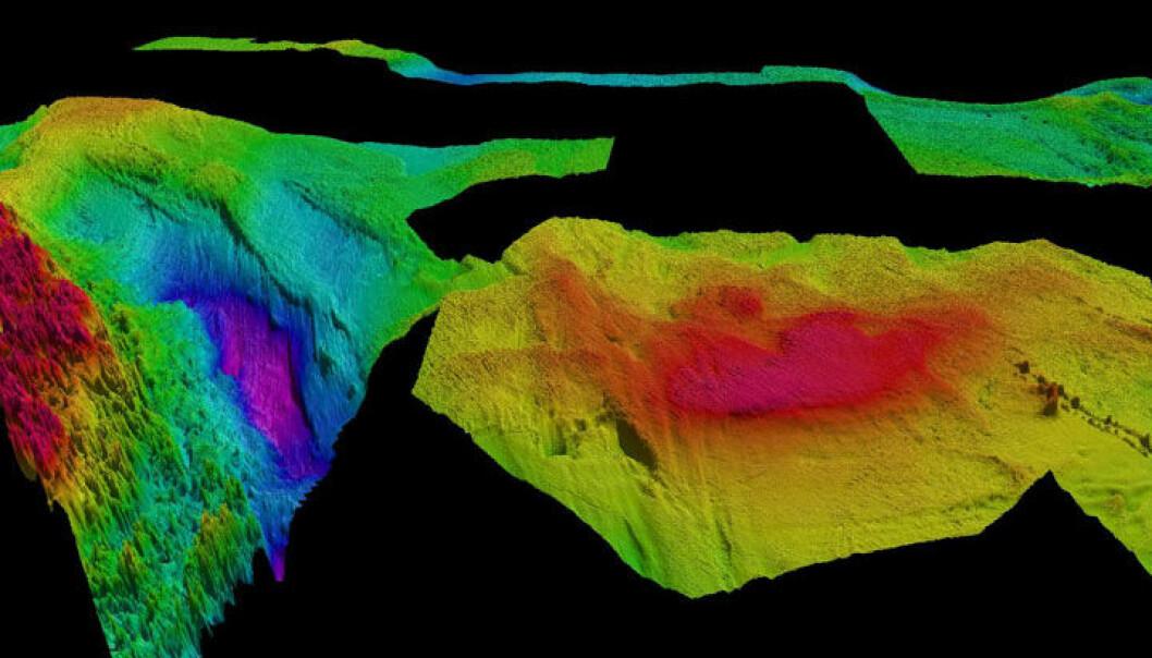 3D-bilde som viser Frøyabanken, Sula området og Haltenbanken. Legg merke til de skarpe haugene i Sulaområdet, det er korallrev. Rød farge viser de grunneste områdene, dypt blått er dypest. Dybdedataene dekker også det kommende Mareano-toktet som blir litt lenger nord i sommer, her kan vi se Garsholbanken og vestre delen av Sklinnadjupet. <br>Dybdedata: Mareano / Kartverket