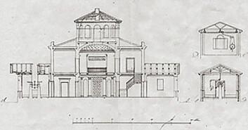 Arbeidstegning av observatoriet på Solli plass.
