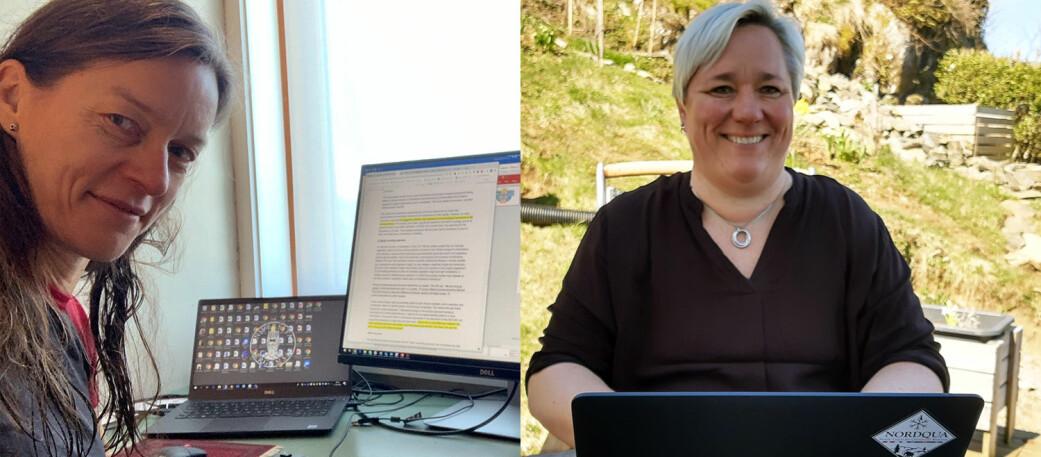 Anne Bjune (til venstre) og Vigdis Vandvik jobber med klimaforskning og planter på to ulike måter. Mens Bjune jobber med å spore opp fortidens vegetasjon gjennom fossile planterester for eksempel på bunnen av en innsjø, undersøker Vandvik hvordan plantene reagerer på endringer i klima.