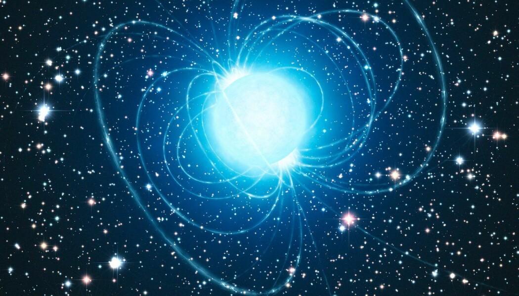 En kunstners fremstilling av en magnetar. Det er en død stjerne med ekstremt kraftig magnetfelt.