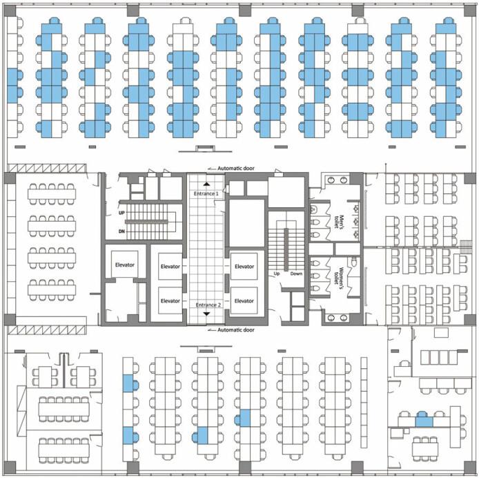 På de blå plassene satt det smittede ansatte i det åpne kontorlandskapet. Flertallet hadde lenge sittet nær hverandre i samme del av lokalet.