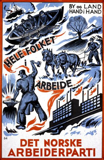 Arbeiderpartiets slagord «Hele folket i arbeid» fra 1933 var så sterkt at det fremdeles står meislet i manges bevissthet. (Foto: (Illustrasjon: Arbeiderpartiet))