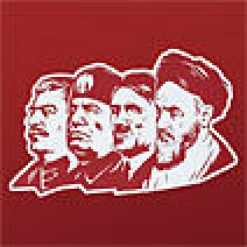 Stalin, Mussolini, Hitler og Khomeini. (Illustrasjon: Drømmen om det fullkomne samfunn/Aschehoug)