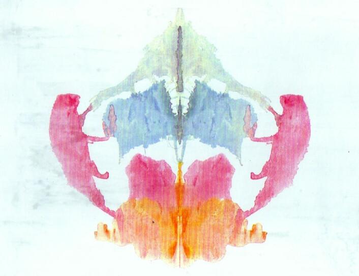 Ett av de opprinnelige Rorschach-testbildene (nr. 8), som de fleste syntes lignet et firbent dyr. (Foto: (Bilde: Herrmann Rorschach, Creative Commons))