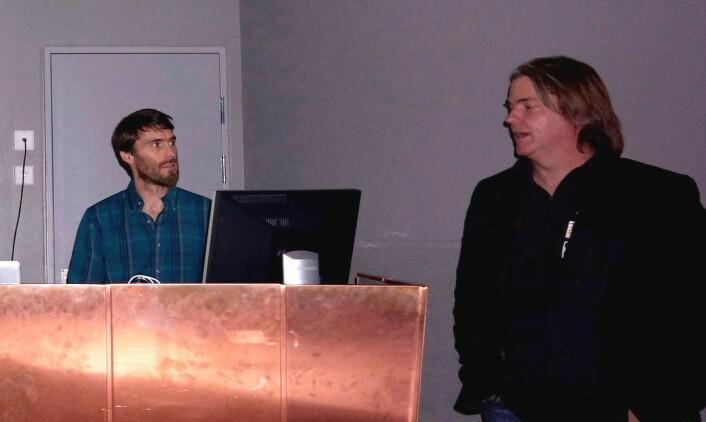 To sentrale personar i øgleutgravingane: Pat Druckenmiller og Jørn Hurum. (Foto: Hans Arne Nakrem, NHM/UiO)