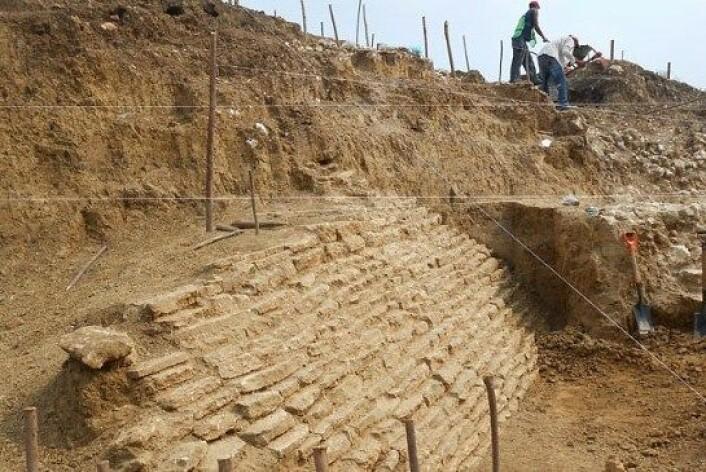 Restene av Pyramiden som ble funnet i Jaltipan i sør-Mexico. (Foto: INAH)