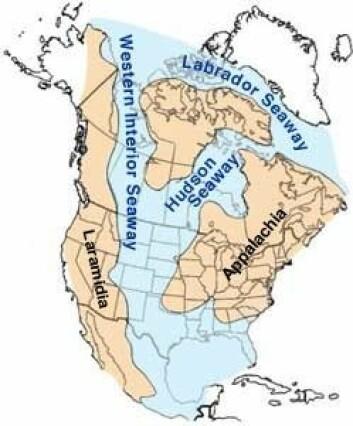 Lythronaxen levde på det isolerte øy-kontinentet Laramidia. (illustrasjonsfoto: Wikimedia/United States Geological Survey)