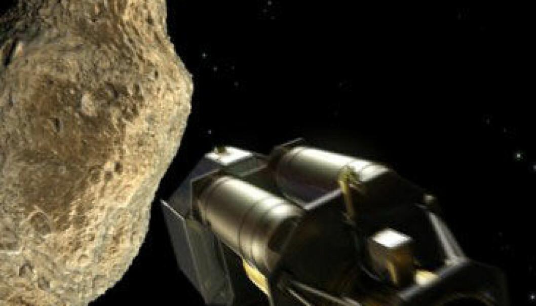 Å dytte asteroiden ut av kollisjonsbanen er ein aktuell metode for å verne oss mot kollisjonar med gjenstandar frå rommet. Foto: ESA - AOES Medialab