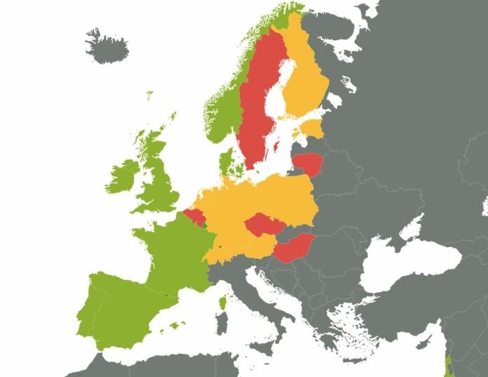 Fruktinntak: Kartet viser land som er fargemarkert etter hvor mye frukt de spiser. Mer enn en om dagen (grønn), en om dagen (gul) eller mindre enn en om dagen (rød).