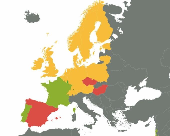 Grønnsakspising: Kartet viser land som er fargemarkert etter hvor mye grønnsaker de spiser. Mer enn en om dagen (grønn), en om dagen (gul) eller mindre enn en om dagen (rød).