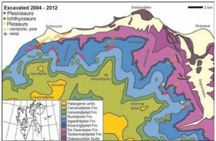 """Kartet viser """"Øglegravarane"""" sine utgravde øgler på Svalbard. (Foto: (Illustrasjon: Jørn Hurum, NHM/UiO))"""