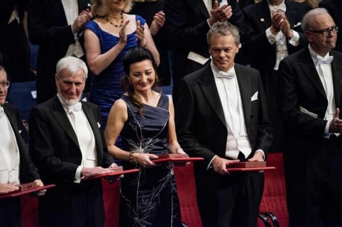 Edvard og hans daværende kone May Britt på Nobelprisutdeling i 2014: