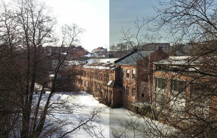 HDR (til høyre i bildet) kombinerer flere bilder tatt med forskjellig eksponering slik at både lyse og mørke partier eksponeres riktig. (Foto: Arnfinn Christensen, forskning.no.)