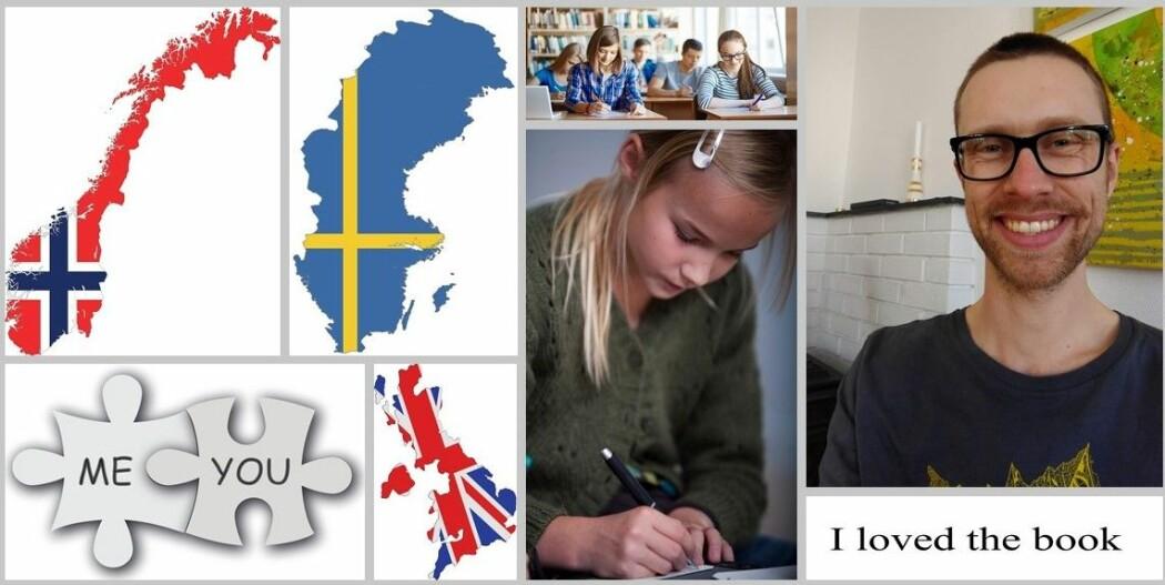 James Jacob Thomson (til venstre) forsker på hvordan skoleelever i Norge, Sverige og Storbritannia skriver engelsk.