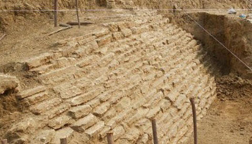 Restene av Pyramiden som ble funnet i Jaltipan i sør-Mexico. INAH