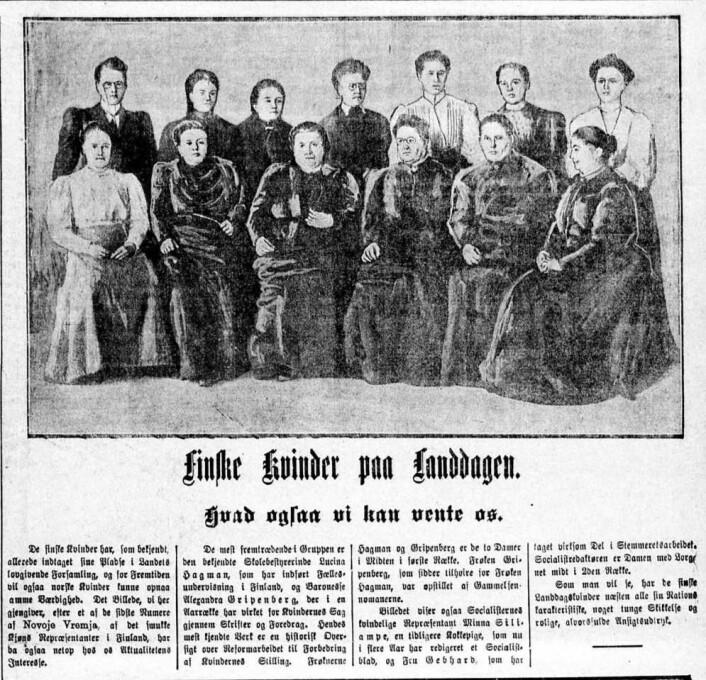 Aftenposten tok i bruk et sjeldent virkemiddel og trykket en stor illustrasjon på forsiden av aftenutgaven 15. juni 1907. (Foto: (Faksimile fra Aftenposten))