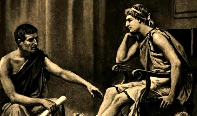 Aristoteles er en av de sentrale tenkerne i vestlig filosofihistorie. Han skrev sine verk om lykke på 300-tallet f.kr. I dette maleriet av Jean Leome Gerome Ferris fra 1895 underviser han sin elev Aleksander den store.