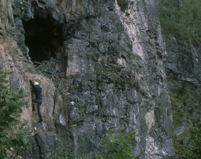 Høyt henger de, og historiesultne er de. Her klatrer Finn Erhard Johannessen opp til en gruve. Bildet er tatt i 1980 da han skrev hovedoppgave om Årdal kobberverk. (Foto: Norsk Bergverksmuseum, B.I. Berg)