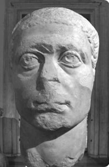"""""""Dette Konstantin-portrettet fra begynnelsen av 300-tallet e. Kr. Det er omarbeidet fra et portrett av en keiser fra det 2. århundre e. Kr. Foto: Marina Prusac."""""""