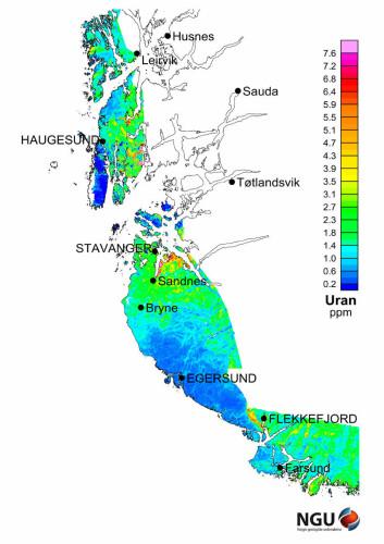 Her er den sørligste delen av urankartet, som viser hvor radioaktiv kysten av Vestlandet er. Gule og røde felter viser høye verdier av uran, blått betyr svært lave verdier. (Illustrasjon: NGU)