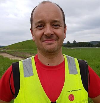 Christian Rødsrud under utgravningen i fjor.