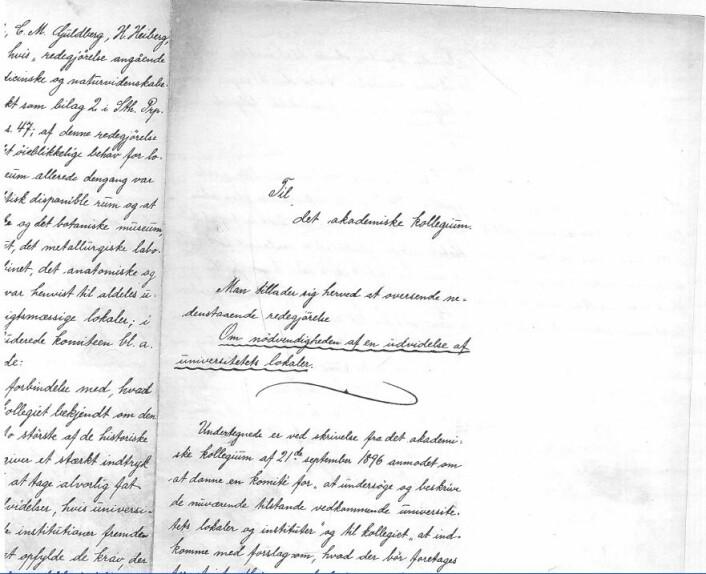 Hvis dette håndskrevne brevet får det til å krible i nysgjerrighetsmagen kan historiestudier være veien for deg.  Det ble skrevet av Børresens professorkollegaer ved UiO for over 100 år siden, i juni 1897. (Foto: privat)
