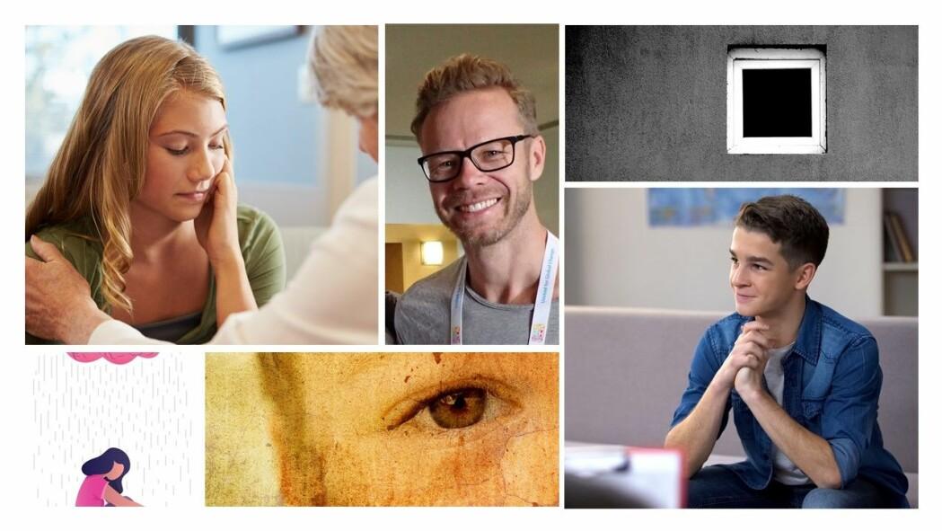 Stig Erlend Bjønnes (midten) spør ungdom om psykiske lidelser og behandlingen de får.