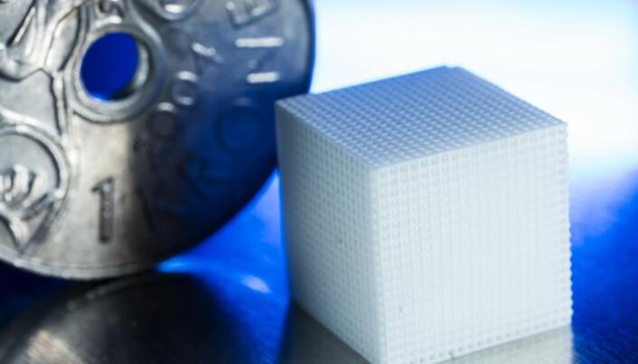 Forskerne arbeider med små enheter. Kuben på bildet er et eksempel for å vise hvor smått det som kommer ut av en 3D-printer kan være i forhold til et kronestykke.