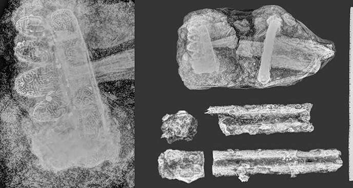 Røntgenfoto av sverdbladet og hjaltet, med forstørret versjon av knappen til venstre. Denne har fem separate tunger og en intrikat edelmetalldekor. Sverdet er av Jan Petersens type O. Sverdet er i dårlig forfatningen, med selve kjernen borte og kun et slags tynt metallskall tilbake.