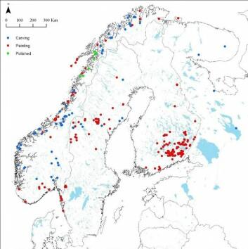 Dette kartet gir en oversikt over bergkunst som finnes i Skandinavia. (Foto: (kart utarbeidet av Jan Magne Gjerde))