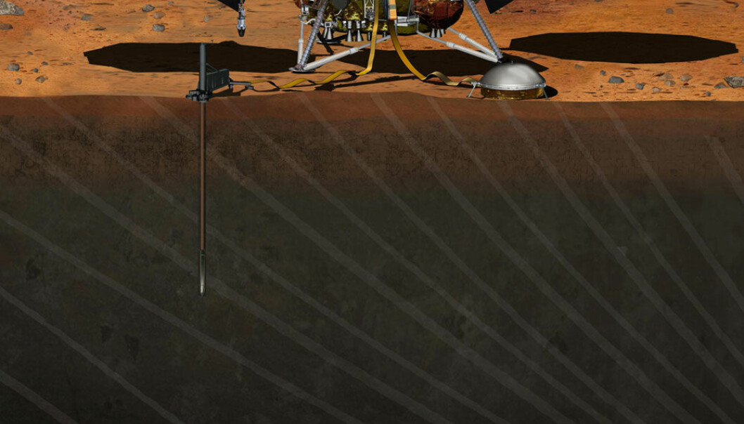 InSight-fartøyet vil stikke en sensor 4,5 meter ned i Mars-skorpen for å blant annet ta temperaturen på planeten. (Illustrasjon: NASA)