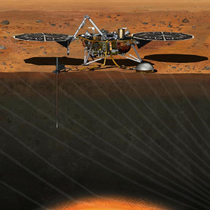 InSight-fartøyet vil stikke en sensor 4,5 meter ned i Mars-skorpen for å blant annet ta temperaturen på planeten. (Foto: (Illustrasjon: NASA))