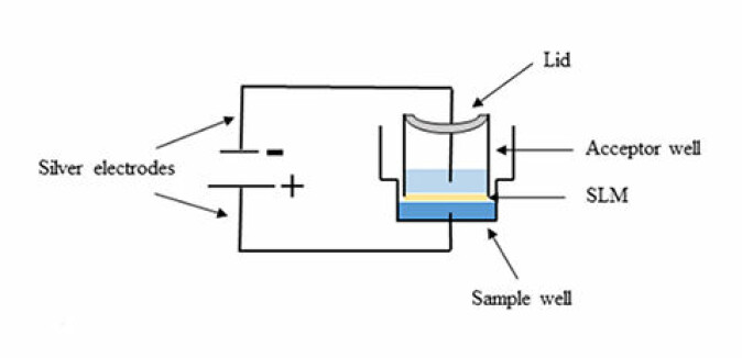 Skisse av elektromembranekstraksjon. Når det går straum gjennom elektrodane, vert stoffet som skal analyserast trekt opp gjennom membranen.